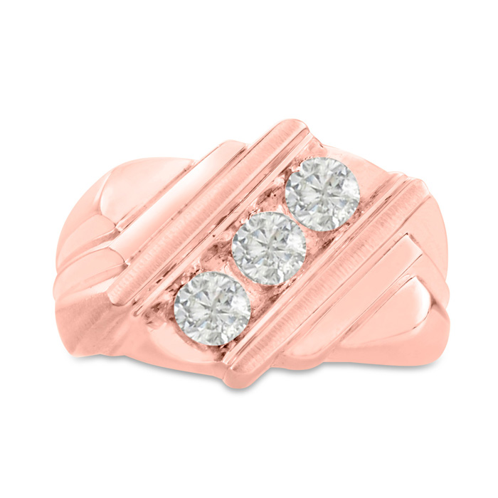 Mens 1 Carat Diamond Wedding Band in 14K Rose Gold, G-H, I2-I3, 1