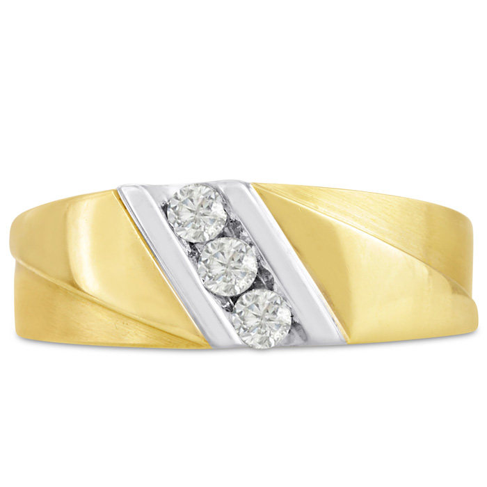 Mens 1/4 Carat Diamond Wedding Band in 10K Two-Tone Gold, G-H, I2