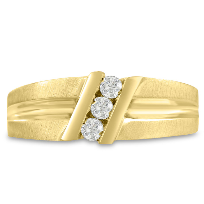 Mens 1/4 Carat Diamond Wedding Band in 10K Yellow Gold, G-H, I2-I