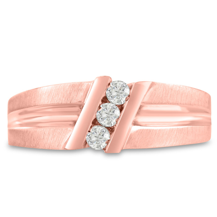 Mens 1/4 Carat Diamond Wedding Band in 14K Rose Gold, G-H, I2-I3,