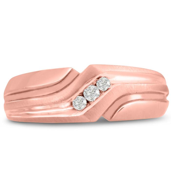 Mens 1/10 Carat Diamond Wedding Band in 10K Rose Gold, I-J-K, I1-I2, 7.53mm Wide by SuperJeweler