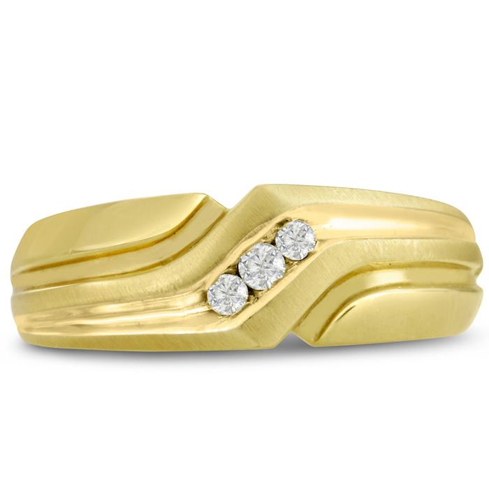 Mens 1/10 Carat Diamond Wedding Band in 10K Yellow Gold, I-J-K, I1-I2, 7.53mm Wide by SuperJeweler