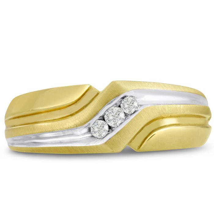 Mens 1/10 Carat Diamond Wedding Band in 10K Two-Tone Gold, G-H, I