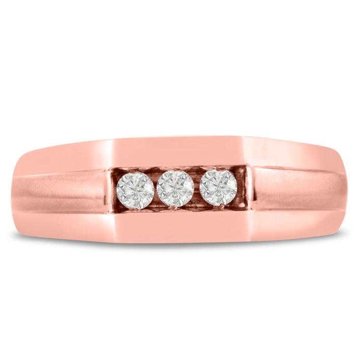 Mens 1/4 Carat Diamond Wedding Band in 10K Rose Gold, I-J-K, I1-I2, 7.17mm Wide by SuperJeweler