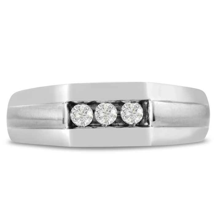 Mens 1/4 Carat Diamond Wedding Band in 10K White Gold, I-J-K, I1-I2, 7.17mm Wide by SuperJeweler