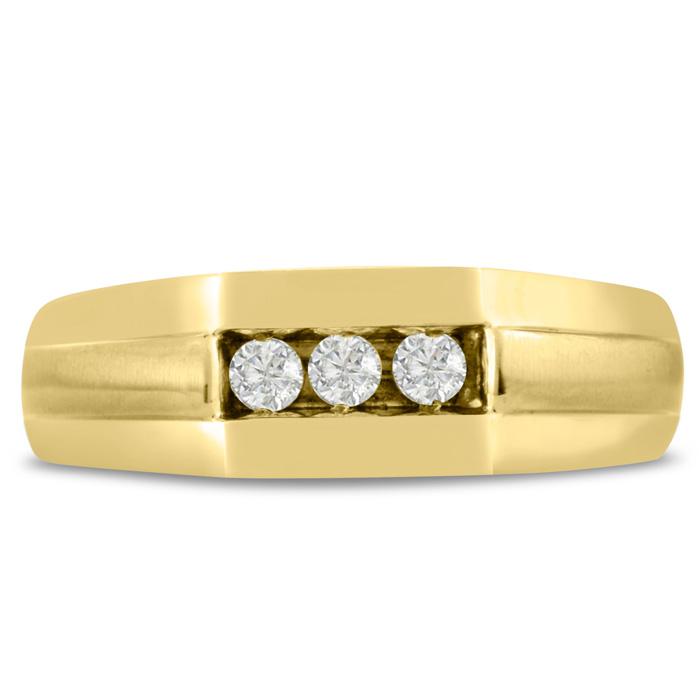 Mens 1/4 Carat Diamond Wedding Band in 10K Yellow Gold, I-J-K, I1