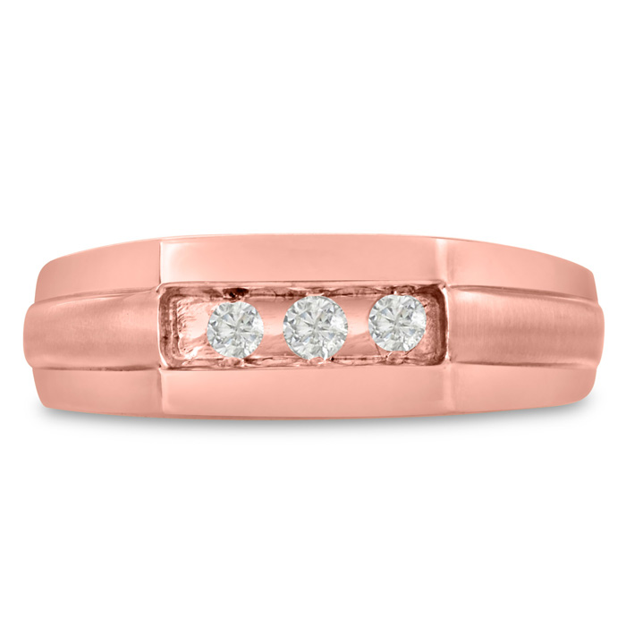 Mens 1/3 Carat Diamond Wedding Band in 10K Rose Gold, I-J-K, I1-I
