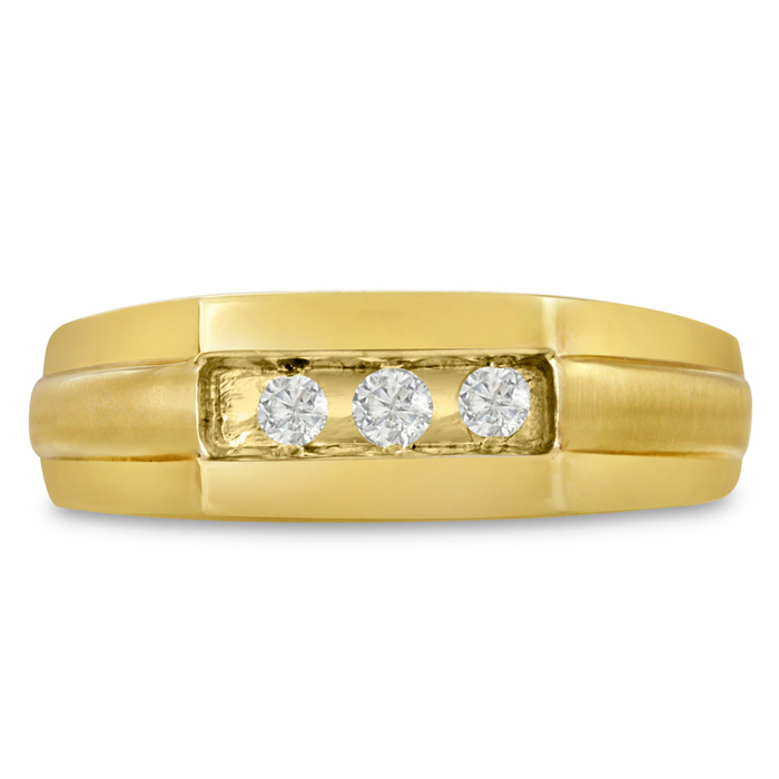 Mens 1/3 Carat Diamond Wedding Band in 10K Yellow Gold, I-J-K, I1-I2, 7.28mm Wide by SuperJeweler