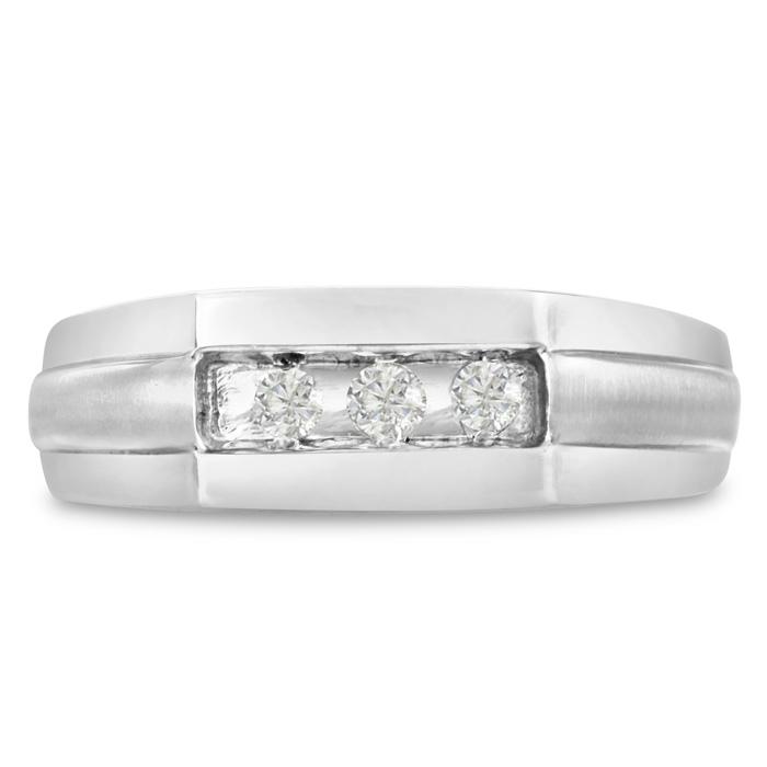 Mens 1/3 Carat Diamond Wedding Band in 14K White Gold, G-H, I2-I3, 7.28mm Wide by SuperJeweler