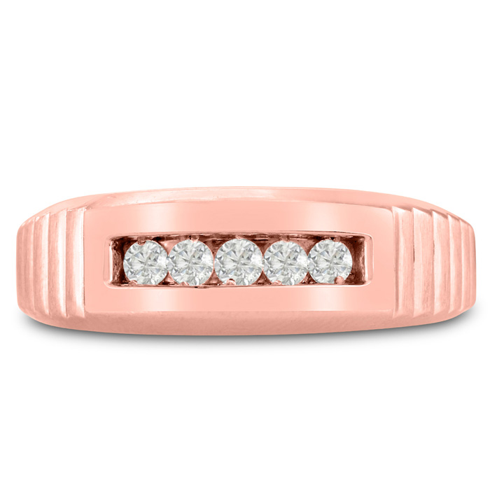 Mens 1/4 Carat Diamond Wedding Band in 10K Rose Gold, I-J-K, I1-I