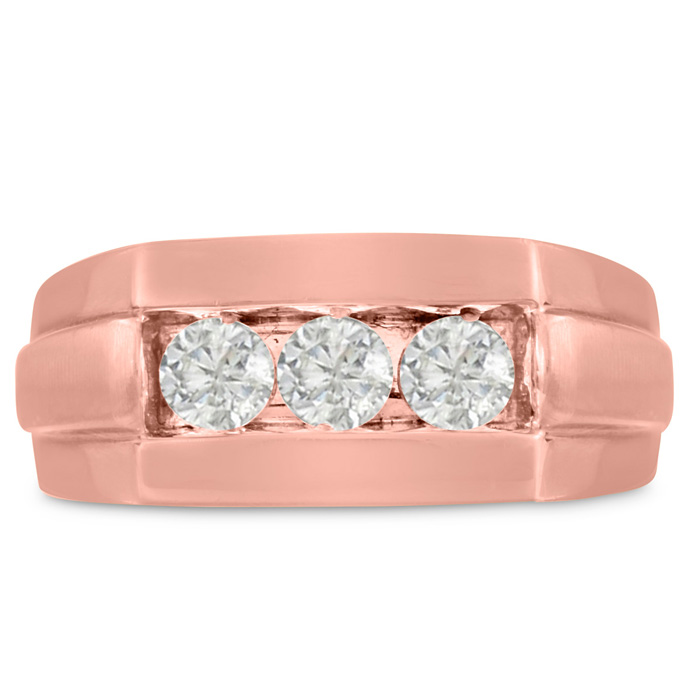 Mens 3/4 Carat Diamond Wedding Band in 10K Rose Gold, G-H, I2-I3, 9.57mm Wide by SuperJeweler