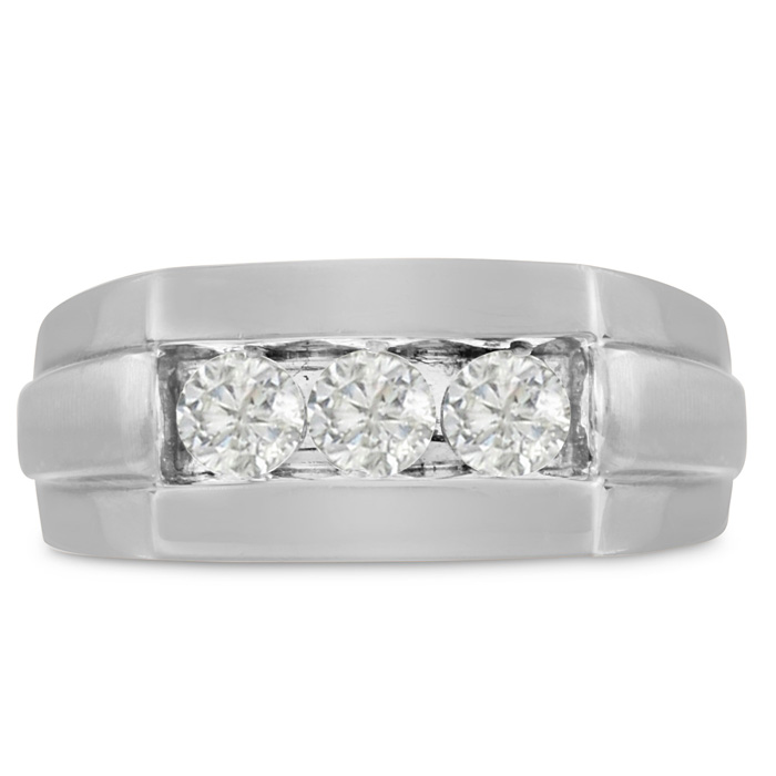 Mens 3/4 Carat Diamond Wedding Band in 10K White Gold, G-H, I2-I3
