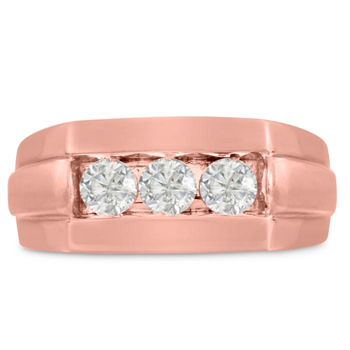 Mens 3/4 Carat Diamond Wedding Band in 14K Rose Gold, I-J-K, I1-I