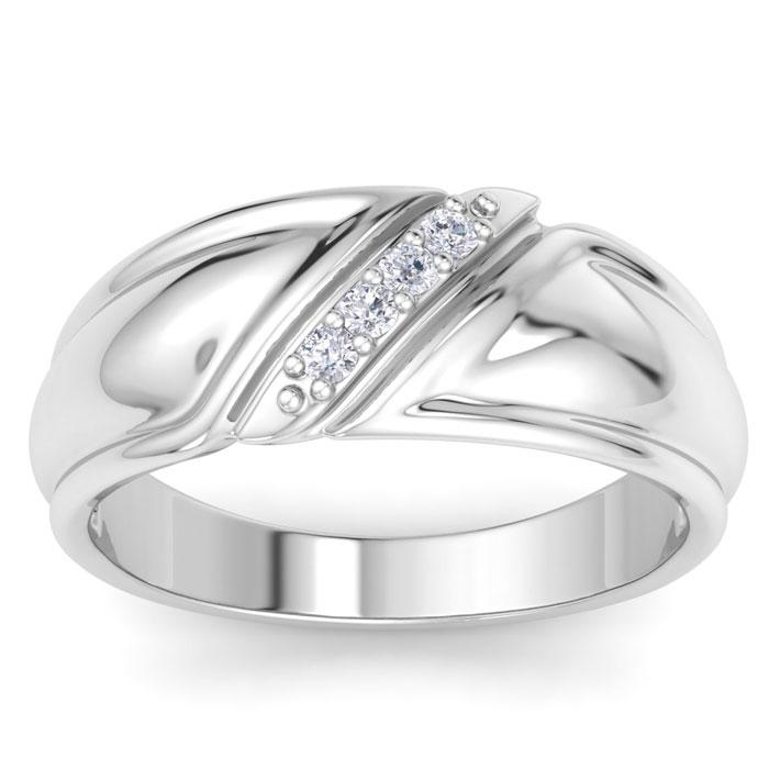 Mens 1/10 Carat Diamond Wedding Band in 10K White Gold, G-H, I2-I3, 8.41mm Wide by SuperJeweler