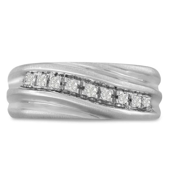 Mens 1/10 Carat Diamond Wedding Band in 10K White Gold, G-H, I2-I