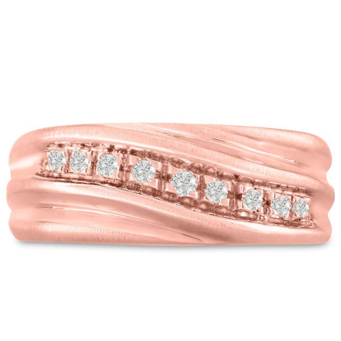 Mens 1/10 Carat Diamond Wedding Band in 14K Rose Gold, G-H, I2-I3, 8.63mm Wide by SuperJeweler