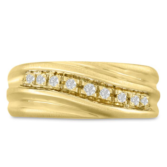 Mens 1/10 Carat Diamond Wedding Band in 14K Yellow Gold, I-J-K, I1-I2, 8.63mm Wide by SuperJeweler