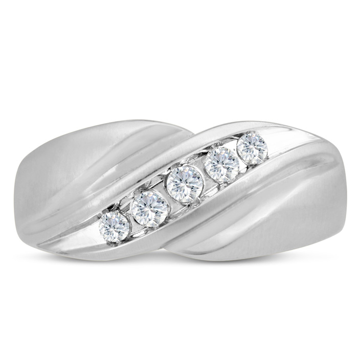 Mens 1/3 Carat Diamond Wedding Band in 14K White Gold, G-H, I2-I3, 9.61mm Wide by SuperJeweler