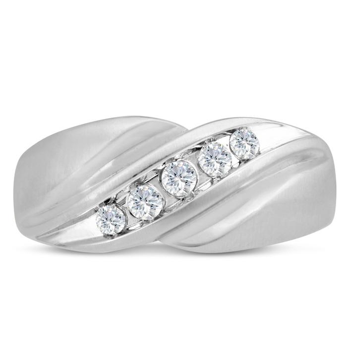 Mens 1/3 Carat Diamond Wedding Band in 14K White Gold, I-J-K, I1-I2, 9.61mm Wide by SuperJeweler