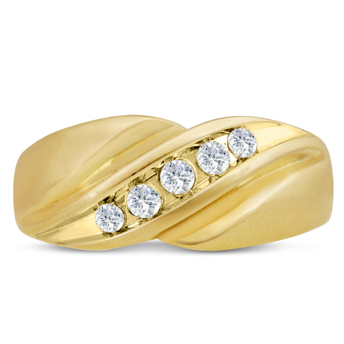 Mens 1/3 Carat Diamond Wedding Band in 14K Yellow Gold, G-H, I2-I