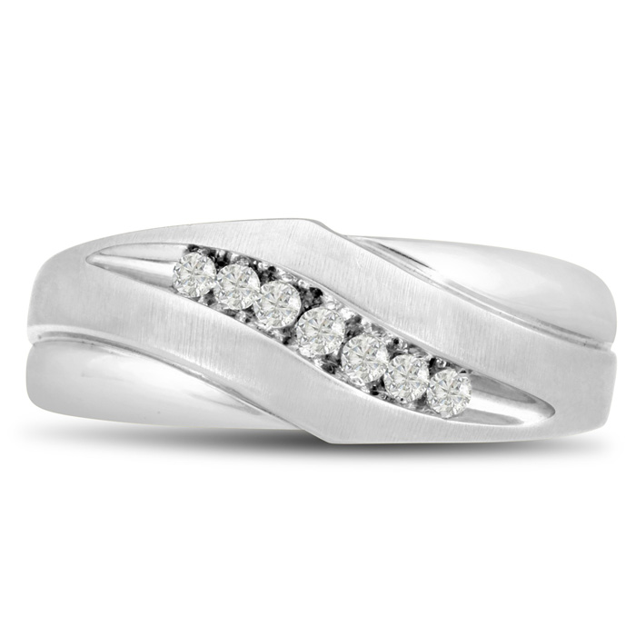 Mens 1/10 Carat Diamond Wedding Band in 10K White Gold, G-H, I2-I