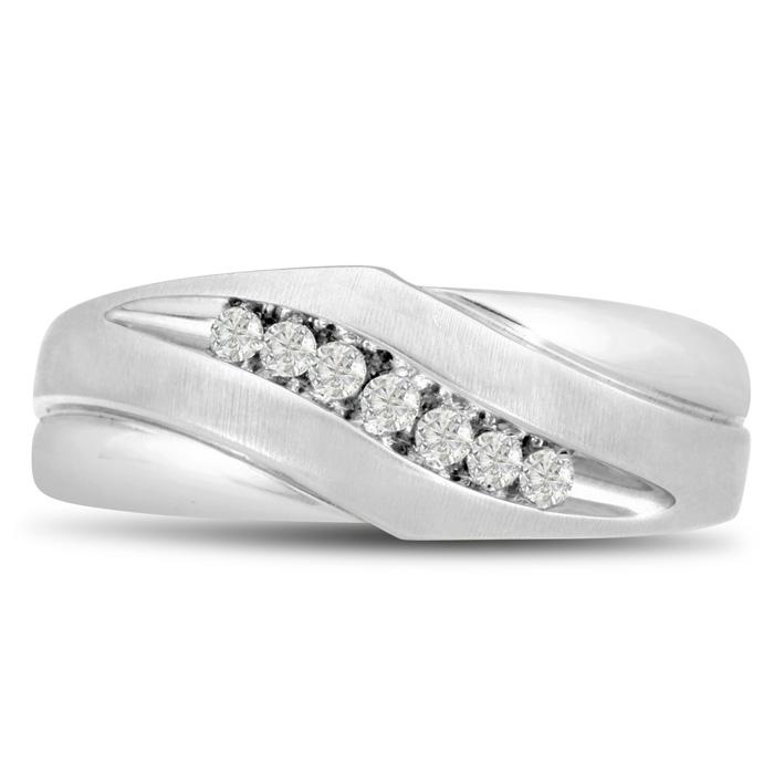 Mens 1/10 Carat Diamond Wedding Band in 10K White Gold, I-J-K, I1
