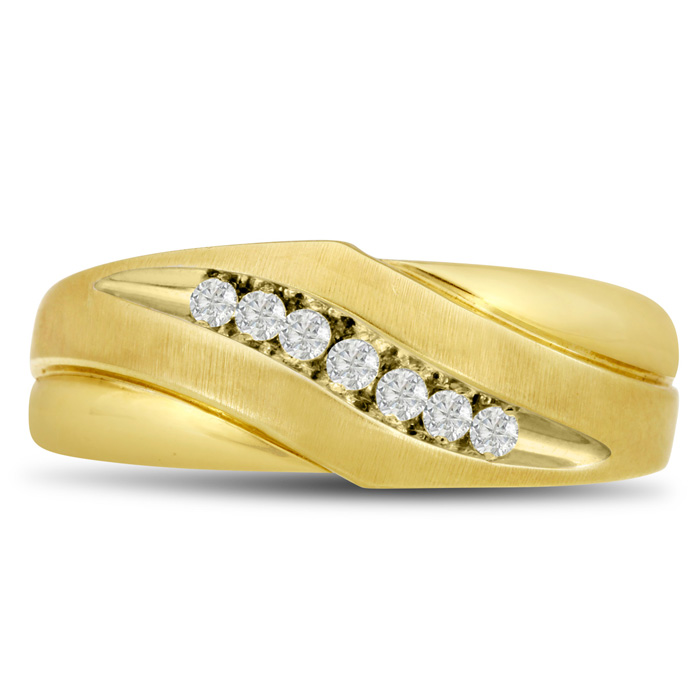 Mens 1/10 Carat Diamond Wedding Band in 10K Yellow Gold, G-H, I2-I3, 8.0mm Wide by SuperJeweler