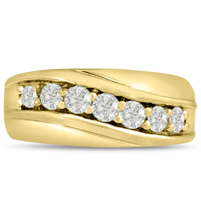Mens 1 Carat Diamond Wedding Band in 10K Yellow Gold, I-J-K, I1-I2, 9.88mm Wide by SuperJeweler