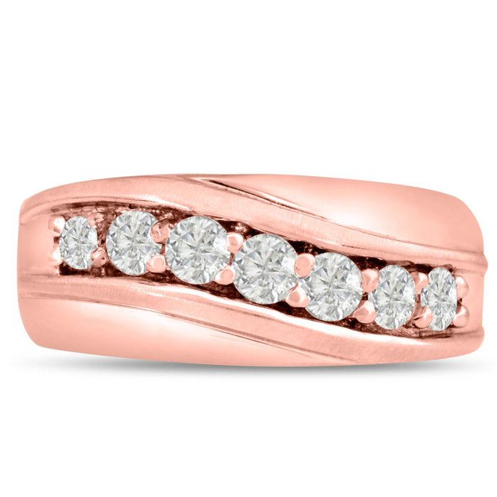 Mens 1 Carat Diamond Wedding Band in 14K Rose Gold, I-J-K, I1-I2,