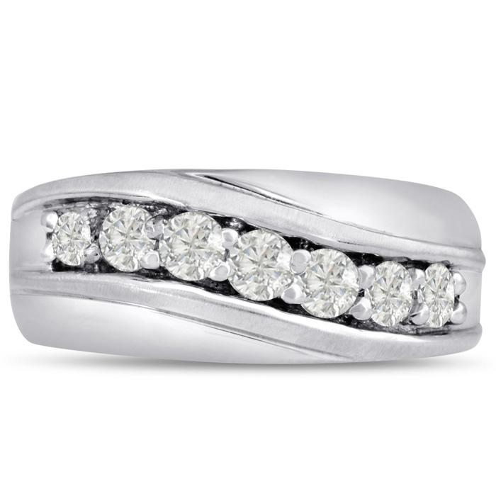 Mens 1 Carat Diamond Wedding Band in 14K White Gold, G-H, I2-I3, 9.88mm Wide by SuperJeweler