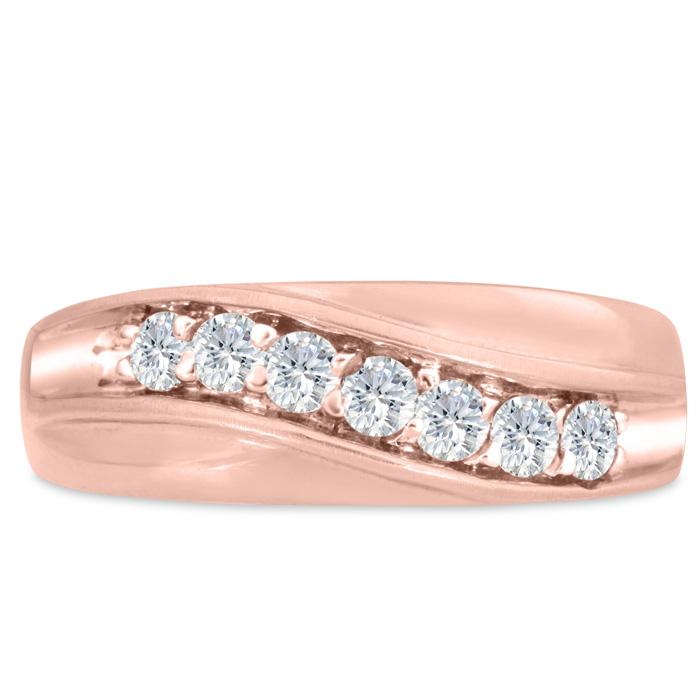 Mens 1/2 Carat Diamond Wedding Band in 10K Rose Gold, I-J-K, I1-I2, 7.63mm Wide by SuperJeweler