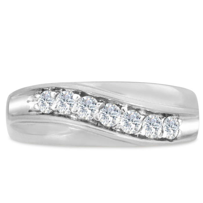 Mens 1/2 Carat Diamond Wedding Band in 10K White Gold, G-H, I2-I3, 7.63mm Wide by SuperJeweler