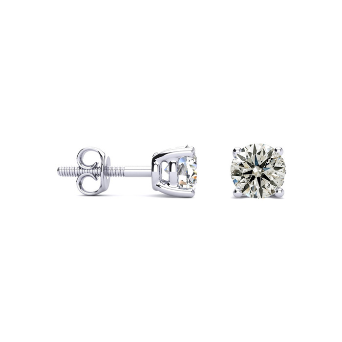 Platinum Nearly 3/4 Carat Diamond Stud Earrings, Beautiful & Fier
