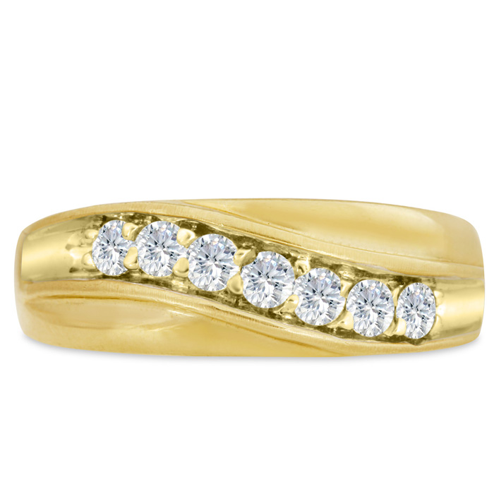 Mens 1/2 Carat Diamond Wedding Band in 10K Yellow Gold, I-J-K, I1-I2, 7.63mm Wide by SuperJeweler