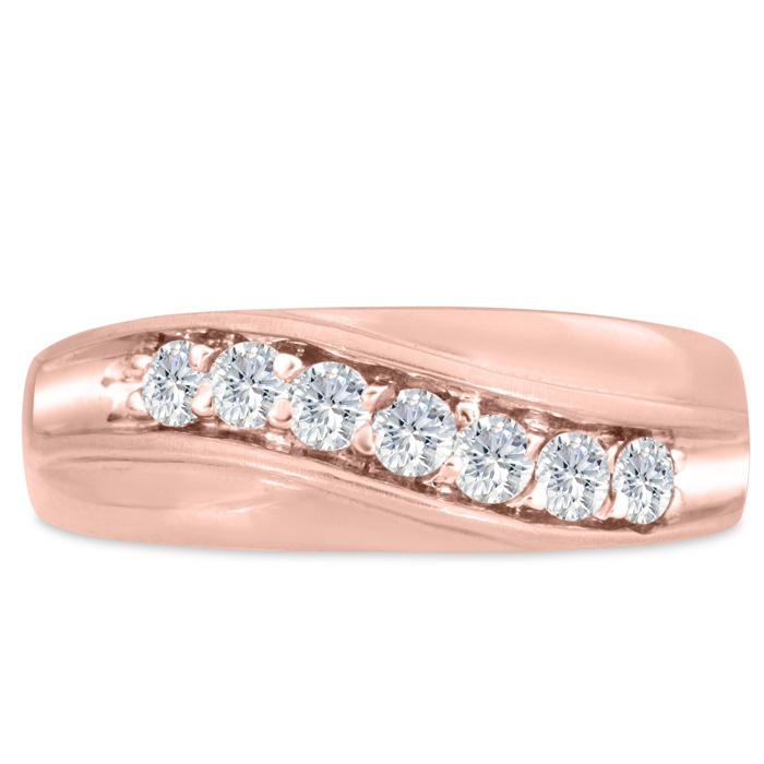 Mens 1/2 Carat Diamond Wedding Band in 14K Rose Gold, G-H, I2-I3,