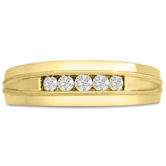 Mens 1/5 Carat Diamond Wedding Band in 10K Yellow Gold, G-H, I2-I