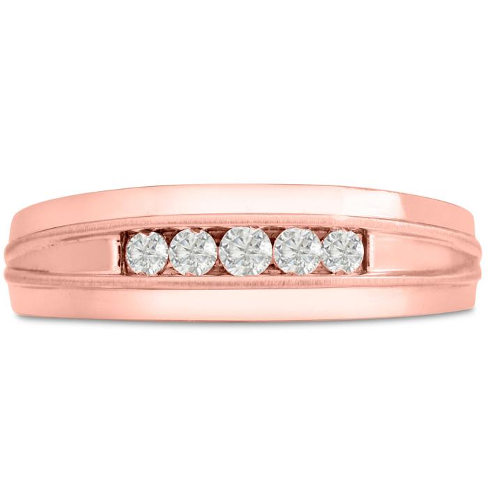 Mens 1/5 Carat Diamond Wedding Band in 14K Rose Gold, G-H, I2-I3,