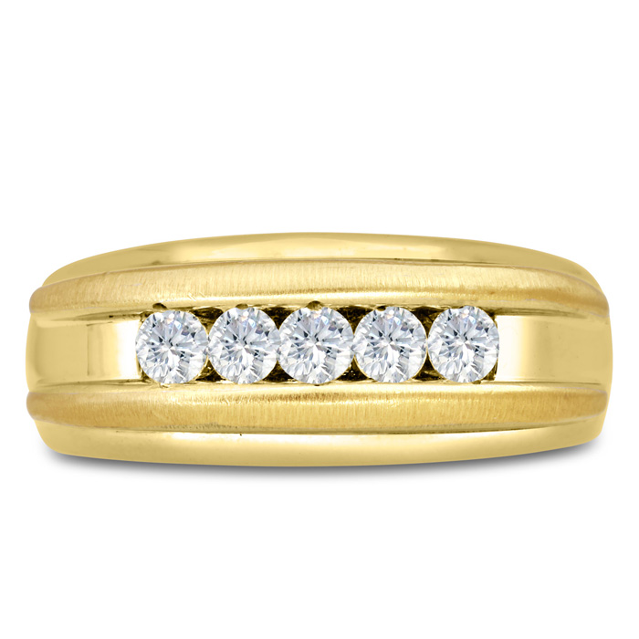 Mens 1/2 Carat Diamond Wedding Band in 10K Yellow Gold, I-J-K, I1-I2, 9.0mm Wide by SuperJeweler