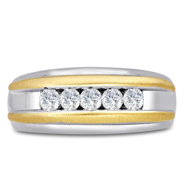 Mens 1/2 Carat Diamond Wedding Band in 14K Two-Tone Gold, G-H, I2