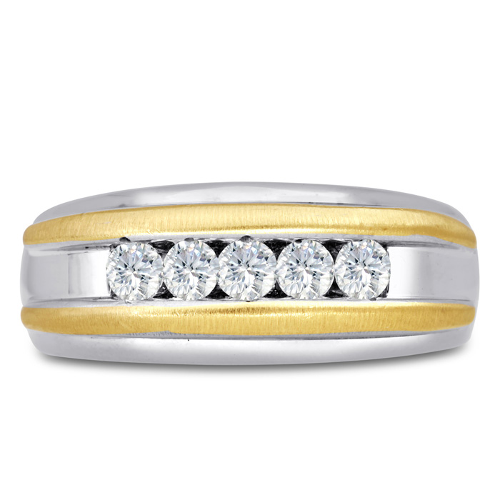Mens 1/2 Carat Diamond Wedding Band in 14K Two-Tone Gold, I-J-K,