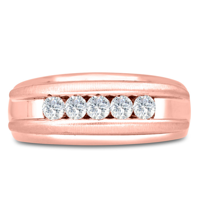 Mens 1/2 Carat Diamond Wedding Band in 14K Rose Gold, G-H, I2-I3,