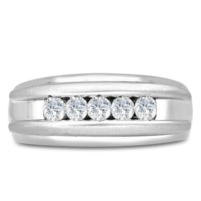 Mens 1/2 Carat Diamond Wedding Band in 14K White Gold, I-J-K, I1-