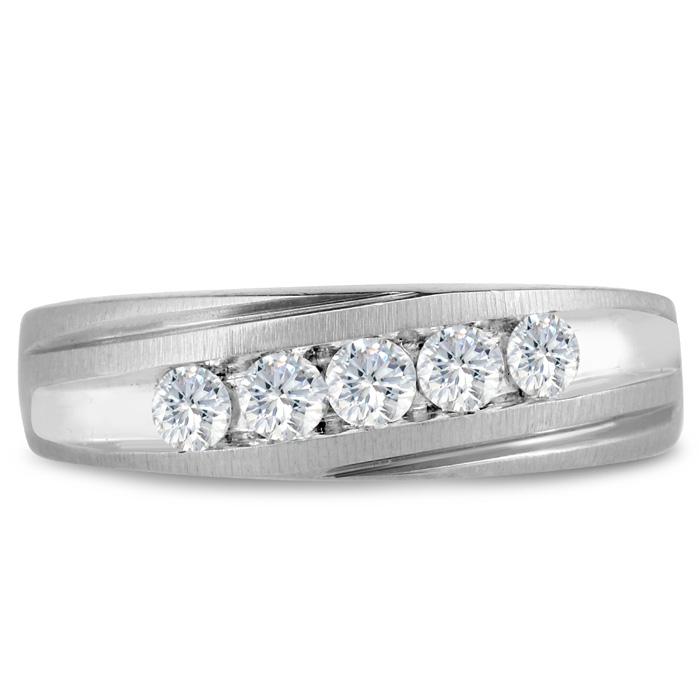 Mens 1/2 Carat Diamond Wedding Band in 10K White Gold, G-H, I2-I3, 6.67mm Wide by SuperJeweler