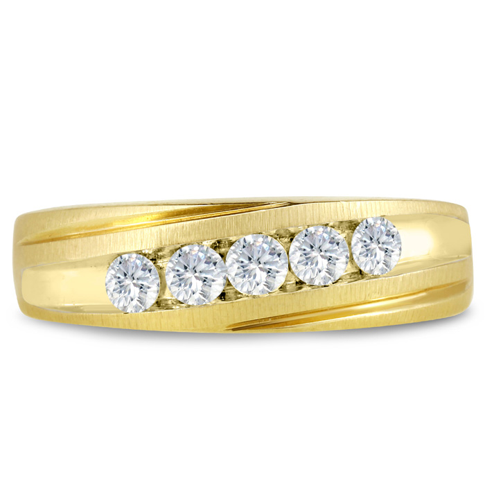 Mens 1/2 Carat Diamond Wedding Band in 10K Yellow Gold, G-H, I2-I3, 6.67mm Wide by SuperJeweler