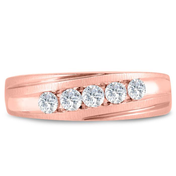Mens 1/2 Carat Diamond Wedding Band in 14K Rose Gold, G-H, I2-I3, 6.67mm Wide by SuperJeweler