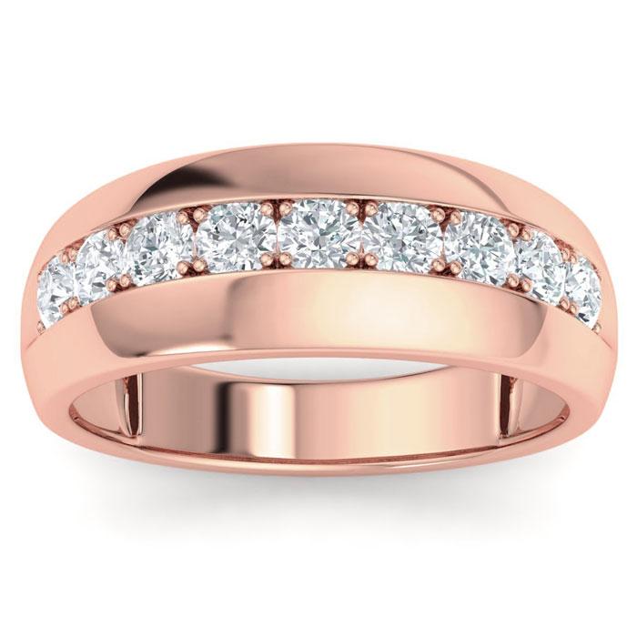 Mens 1 Carat Diamond Wedding Band in 10K Rose Gold, G-H, I2-I3, 8.42mm Wide by SuperJeweler