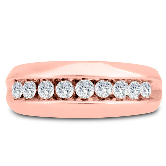Mens 1 Carat Diamond Wedding Band in 10K Rose Gold, I-J-K, I1-I2,