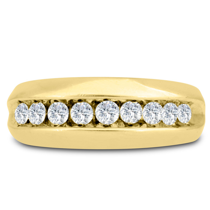 Mens 1 Carat Diamond Wedding Band in 14K Yellow Gold, G-H, I2-I3,