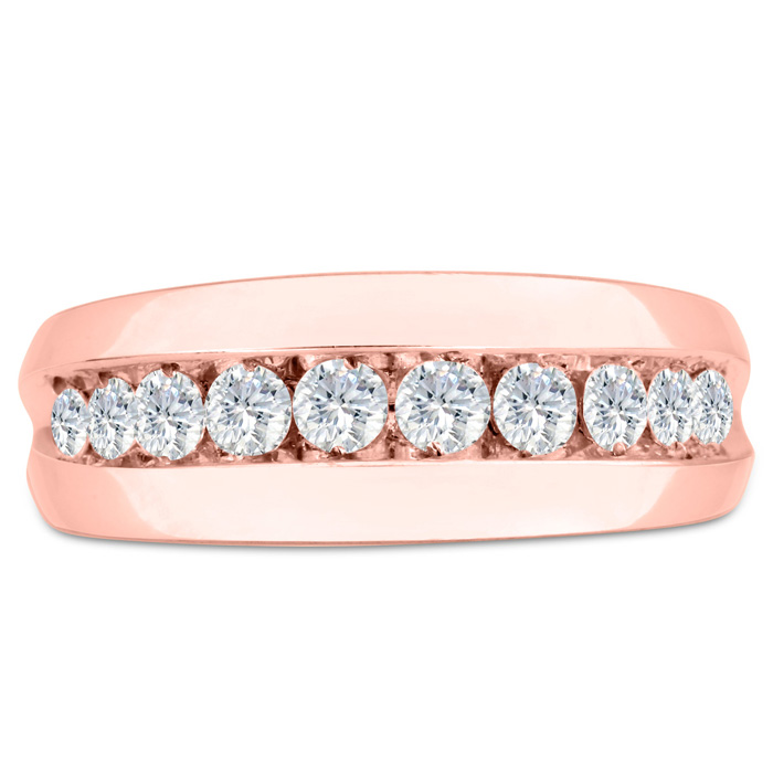 Mens 1 Carat Diamond Wedding Band in 10K Rose Gold, G-H, I2-I3, 8