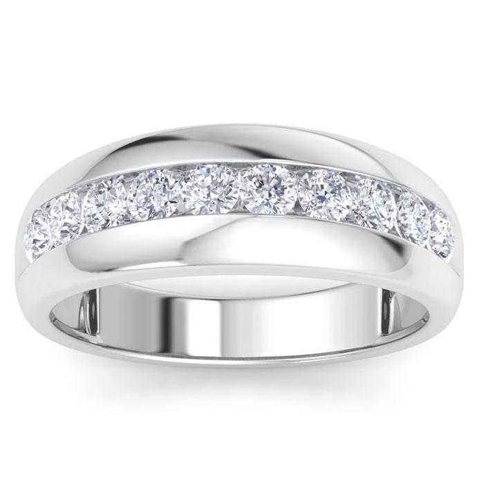 Mens 1 Carat Diamond Wedding Band in 10K White Gold, G-H, I2-I3,